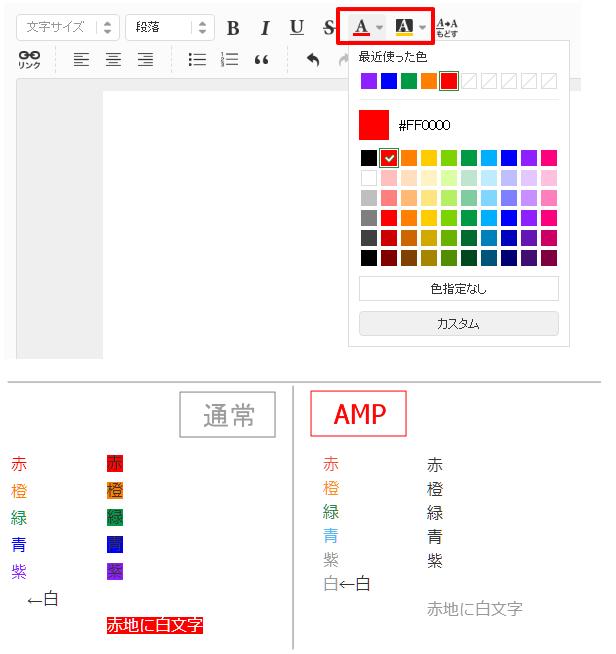 アメブロの通常のモバイル向けページとAMPの表示の違い